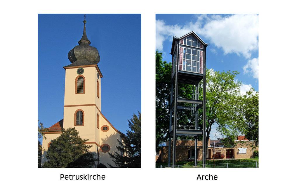 Ansicht des Kirchturms der Petruskirche und Aussenansicht der Arche mit Glockenturm im Vordergrund; Quelle: Andrea Dahint