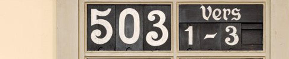 Bildausschnitt: Historische Liedtafel in der Providenzkirche - Lied 503: Geh' aus mein Herz und suche Freud (Paul Gerhardt); Quelle: Altstadtgemeinde/Foto: Dr. Manfred Schneider