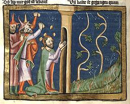 Quelle: Rudolf von Ems: Weltchronik. Böhmen (Prag), 3. Viertel 14. Jahrhundert. Hochschul- und Landesbibliothek Fulda, Aa 88. Miniatur 201 335v.via Wikimedia Commons