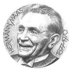 Gezeichnetes Portrait von Hermann Maas mit Jahreszahlen 1877 - 1970; Quelle: ekihd